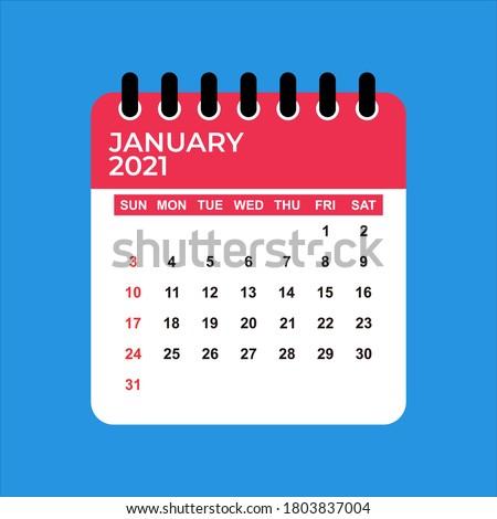 January 2021 Calendar. January 2021 Calendar vector illustration. Wall Desk Calendar Vector Template, Simple Minimal Design. Wall Calendar Template For January 2021.