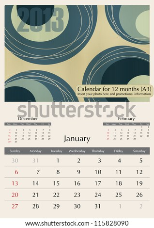 January. 2013 Calendar. Optima fonts used. A3