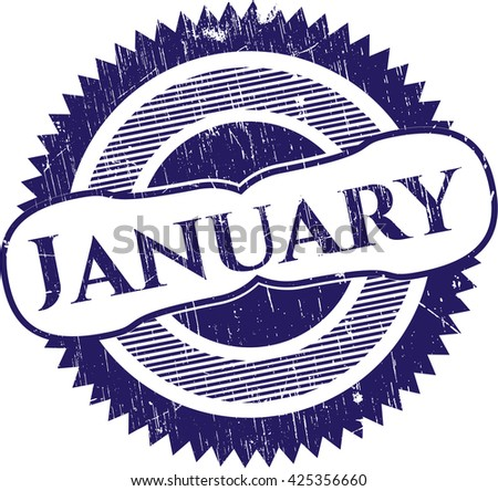 January grunge style stamp