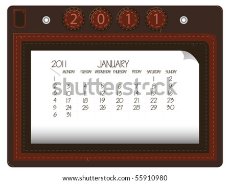 january 2011 leather calendar against white background, abstract vector art illustration