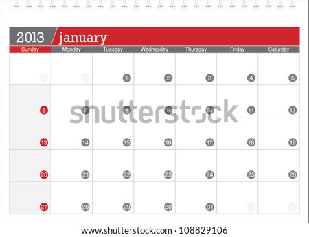 january 2013-planning calendar