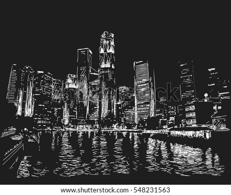 January 04, 2017: Singapore skyline at night. View from river side. Hand drawn vector white sketch on black background #548231563