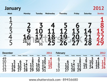 January 2012 three months calendar
