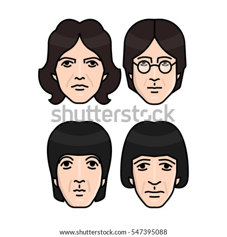 January 03, 2017: vector illustration of the Beatles band members on white background. World Beatles Day topic (January 16).