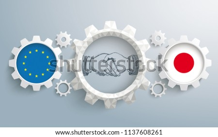 Japan and EU flag with handdrawn handshake on the gray background. Eps 10 vector file.