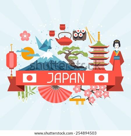 Japan background design. Illustration on Japanese theme.