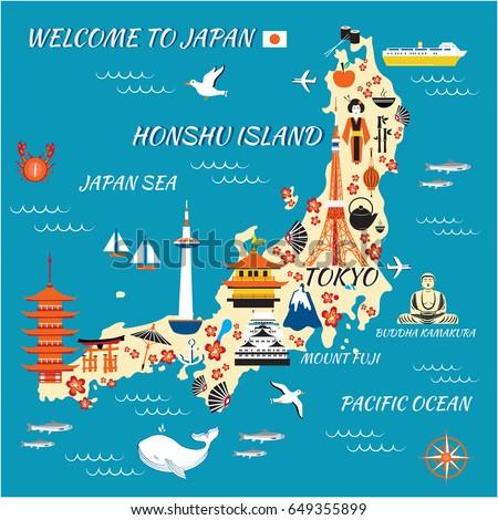 Stock Photo Japan cartoon travel map, vector illustration Honshu island, landmark Kinkaku JI temple, Itsukushima Shrine, Tokyo tower, Mountain Fuji, Kyoto Tower, Buddha Kamakura, Nagoya Castle, japanese symbols