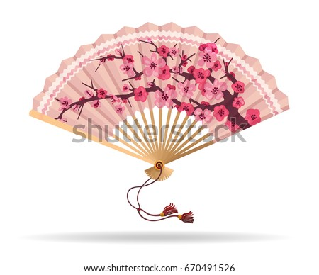 Japan cherry blossom folding fan vector illustration. Japanese fan with sakura branch pattern, geisha souvenir isolated on white