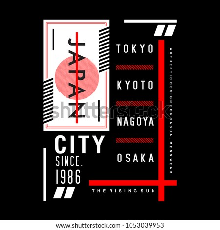 japan city typography for printing tee shirt design graphic, vector illustration urban young generation