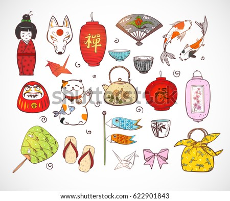 Japan colored doodle sketch elements. Symbols of Japan.