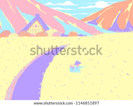 Japan countryside landscape, farmer picking grass in rice field with small house and mountains in background, colorful pastel theme