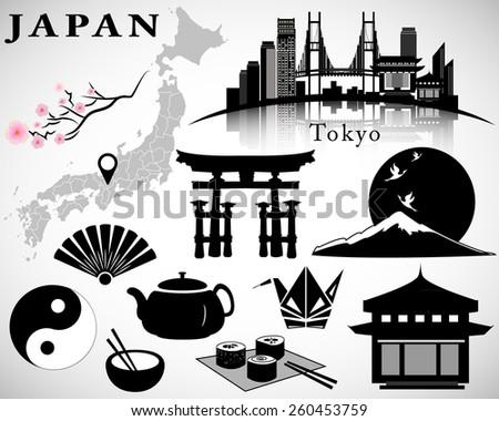 japan detailed set  symbols