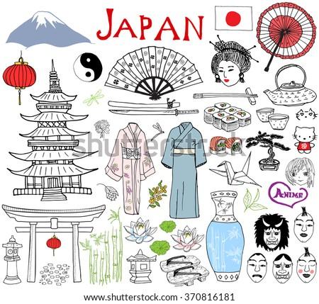 japan doodles elements hand