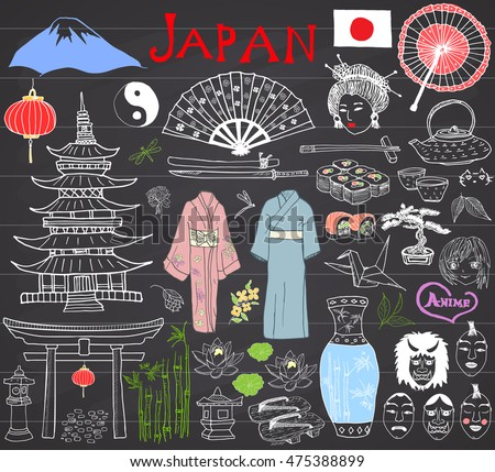 japan doodles set hand drawn