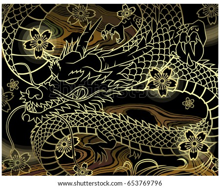 Japan dragon background vector