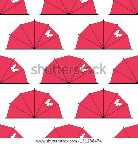 Japan eamless pattern as umbrella or parasol with butterfly