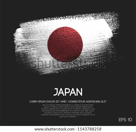 Japan Flag Made of Glitter Sparkle Brush Paint Vector