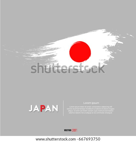 Japan flag with  brush stroke background