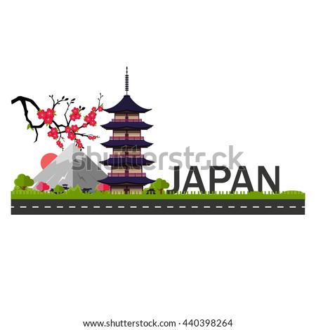 japan fuji vector illustration