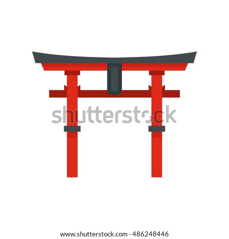 japan gate icon in flat style