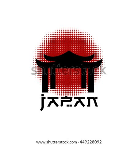 japan gate on halftone red sun