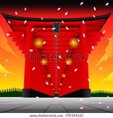 japan gate on sunset background