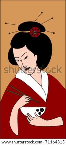 japan girl with chopsticks