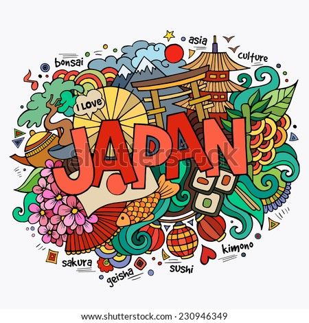 Japan hand lettering and doodles elements background Vector illustration