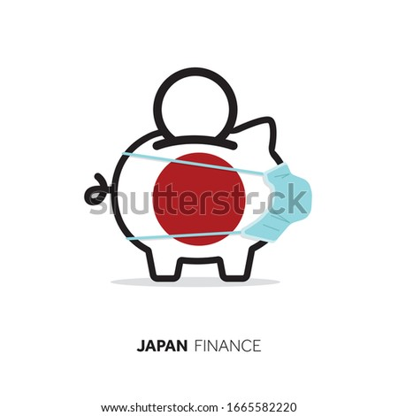 Japan healthcare cost. Piggy bank wearing a protective face mask