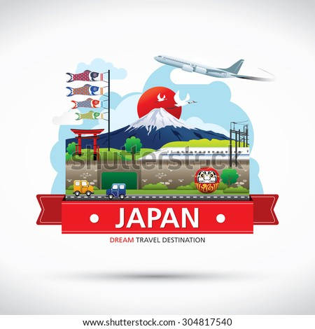 japan icons design travel