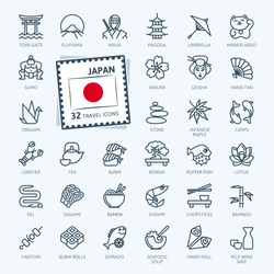 Japan, Japanese - minimal thin line web icon set. Outline icons collection. Travel series. Simple vector illustration.