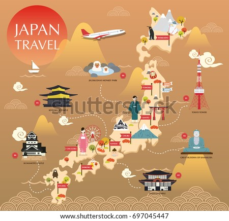japan landmark icons map for...