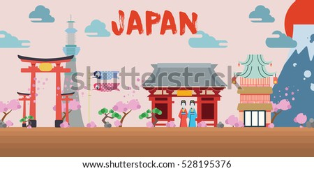 japan landmark vector background