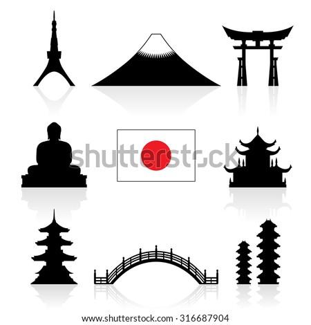 japan landmarks icon set
