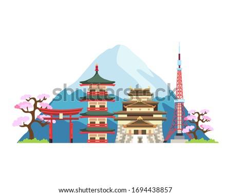 Japan Landmarks illustration. Japan of world famous landmarks for traveling, Popular tourist attraction. Travel and landmark japan, Vector travel places. Vector illustration in flat style