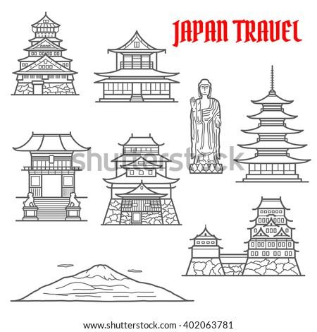 japan landmarks thin line icons