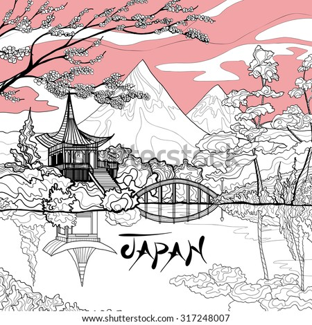 japan landscape background with