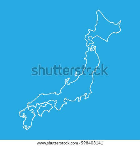 japan map in line style vector