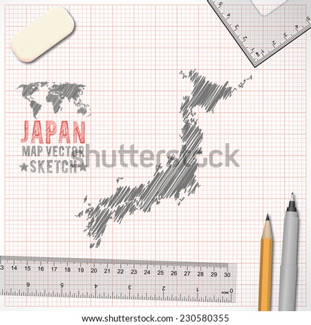 Japan Map Sketch Effect On Graph Paper Background In Vector Format - Japan map sketch