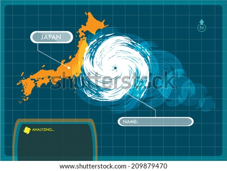 japan map with eye of typhoon