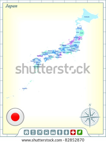Japan Map with Flag Buttons and Assistance & Activates Icons Original Illustration