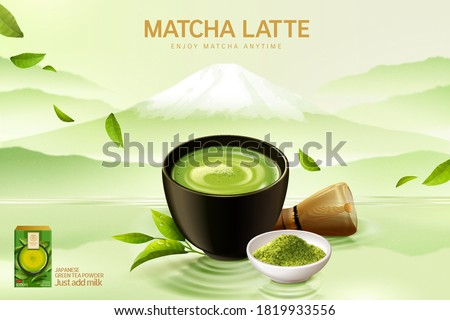 Japan matcha latte ad in 3d illustration, matcha cup set on Japanese mountain painting background