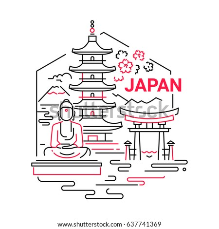 Japan - modern vector line travel illustration. Have a trip, enjoy Japanese vacation. Landmark image. An unusual composition with buddha, temple, mountain, sea, flower, torii in the sky background