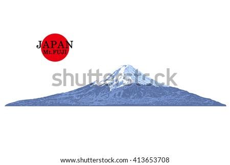 japan  mount fuji vector