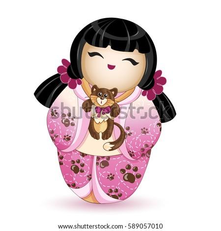 japan national kokeshi doll in