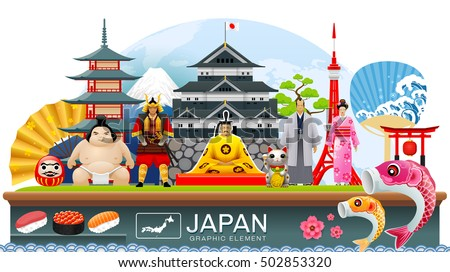 japan object infographic travel place and landmark Vector Illustration