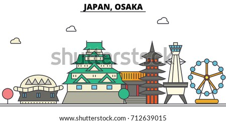 japan  osaka city skyline