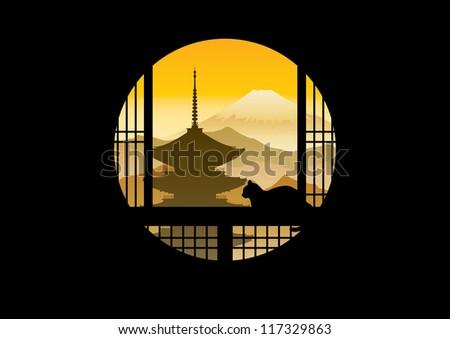 japan scene silhouette  look