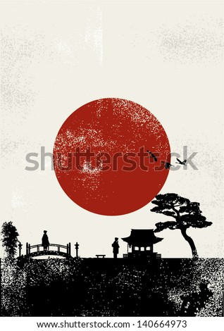 japan scenery poster  vector