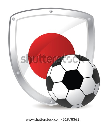 japan shield and ball of soccer